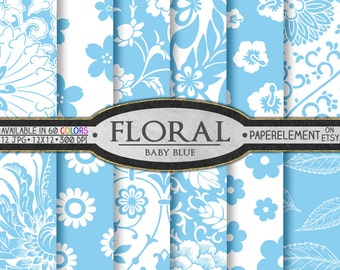 Baby Blue Floral Digital Paper Pack for Scrapbooking - Printable Flower Patterns - Instant Download