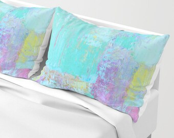 Turquoise Bed Shams - standard or king sizes - set of TWO shams, Free Shipping