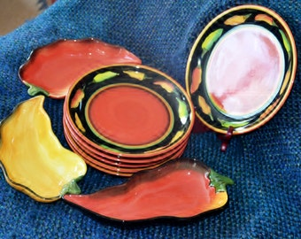 CLAY ART JALAPENO Stone Lite, Fabulous colors! 6 Salad Plates, 3 Serving Dishes, Nine (9) in all , Serve and/or Display. Brighten your life.