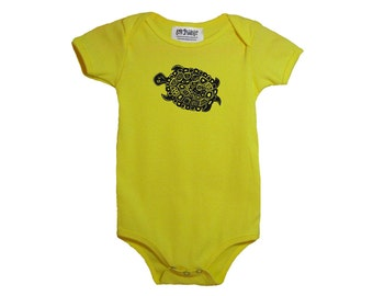 Yellow Turtle Baby Onesie Cotton American Apparel Onepiece Bodysuit New Baby Shower Gift