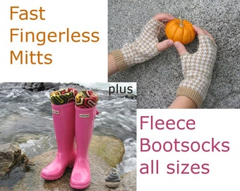 2 Pack PDF Sewing Patterns, Fingerless Mitts and Bootsocks