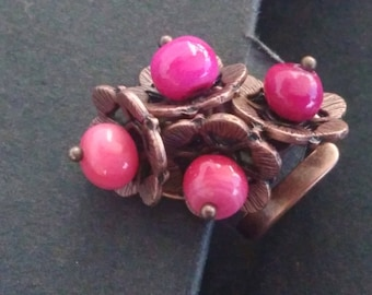Ring: copper and pink flowers