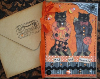 Vintage Halloween Cats Card, Toil and Trouble