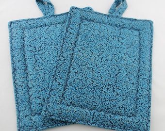 Pot Holders and Oven Mitt, Blue with Gold Leaf Patterned, Rectangle, Oven Mitt, Trivet, 2 pc. Set