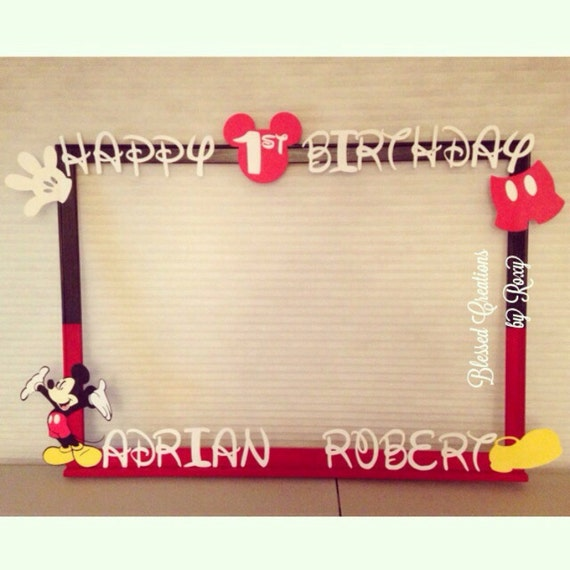 Items similar to Mickey Mouse Photobooth Frame - Photo Booth Prop ...