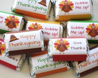 Printable Thanksgiving Candy Bar Wrappers - DIY Thanksgiving Party Favors - Turkey Mini Candy Labels INSTANT DOWNLOAD Thanksgiving Favors T1
