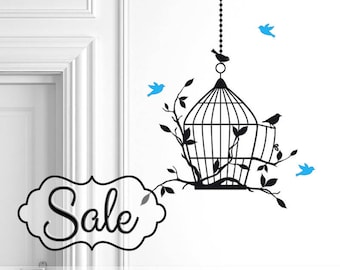 Birdcage Decal with 9 Extra Birds | Birdcage Wall Decal | Bird Cage Vinyl Wall Decal | Flying Birds Decal | Wall Decor | Bedroom Decor