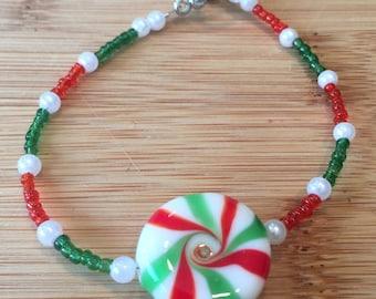 Holiday glass candy beaded bracelet