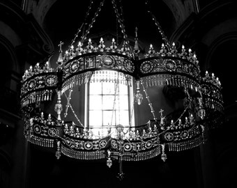 Travel Photograpy, Europe prints, Prague photography, black and white, chandelier, gothic, romantic, cathedral, moody, - Divine