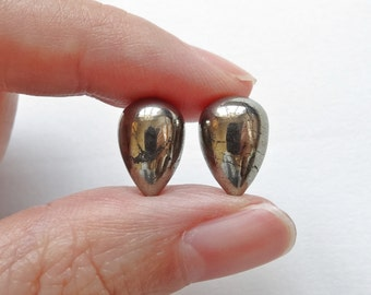 Golden Pyrite Half Top Drilled Inverted Acorn Drops 8x12 mm  One Pair K6578  F3898