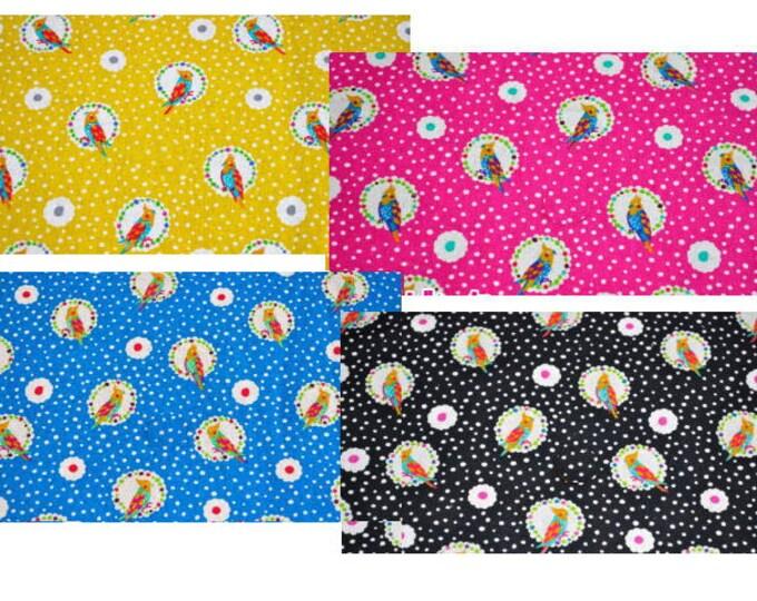 Echino by Etsuko Furuya - Cotton Linen Fabric - Bird Cockatiel EF703, choose one