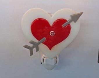 Heart Night Light - Arrow Through Heart Nightlight - Fused Glass Red Heart Night Light