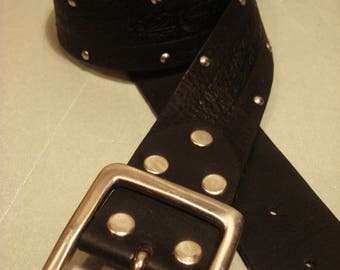 Vintage 1990s Black Tooled Leather and Silver Stud Belt