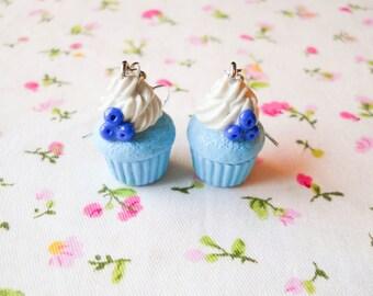 Blueberry Cupcake Earrings, Cute Earrings, Cupcake, Cute, Kawaii Earrings, Sweet Lolita, Polymer Clay, Charm Earrings, Food Earrings, Fruit