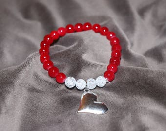 Valentines beaded bracelet, Valentines Day Jewelry, Red and White fashion bracelet, Heart Bracelet, Heart Jewelry, Handmade beaded bracelet