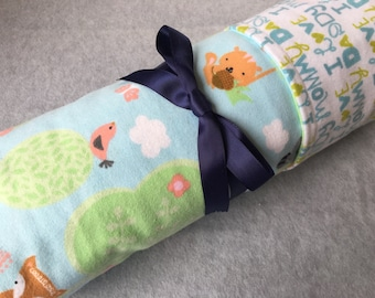 Forest animals flannel baby blanket, double sided, extra large infant blanket, receiving blanket, swaddle, crib blanket, tummy time ~40 X40