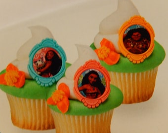 24 Moana Cupcake Cake Topper Rings Birthday Party Decoration