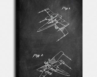 X wing blueprint etsy star wars canvas print x wing fighter patent x wing fighter vintage malvernweather Gallery