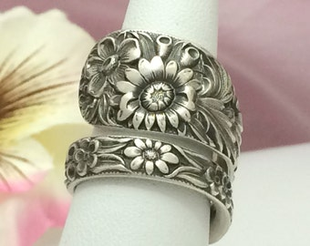 Wildflowers Sterling Ring Silver Spoon, REPOUSSE Size 8 - 13 Custom, Repurposed Kirk 1828 Antique Silverware Jewelry Gift