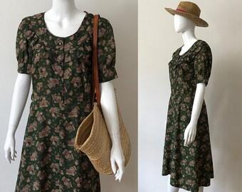 Vintage high waisted dress / 80s dress / high waisted dress / summer dress for women / handmade dress / green dress / short sleeve dress