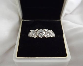 14k White Gold 2.5 ct Diamond Three Stone Ring-On Sale Now!