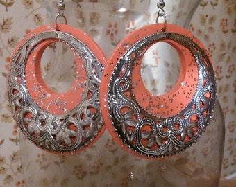 Orange Crush Earrings, Orange earrings, Orange hoop earrings