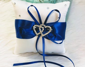 Elegant White Satin Ring Bearer's Pillow with White And Blue, Lace Wedding