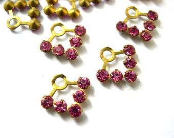 6 Vintage Swarovski fan shape beads crystal rhinestones in pink in brass setting- RARE