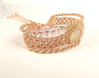 Macrame Bracelet, Three Tier Bracelet With Chalcedony Cabochon, Crystal Beads, Metal Seed Beads, C-Lon Thread in Ginger
