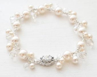 Pearl Cluster Wedding Bracelet, Sterling Silver Pearl Bracelet, Bridal Jewellery, Wedding Jewelry