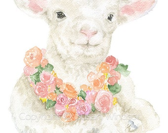 White Lamb Floral Watercolor Painting - 11 x 14 - Giclee Print Reproduction - Girls Room Nursery Art