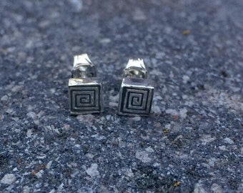 "Square spiral ""Organized Chaos"" Studs - Recycled Sterling Silver"