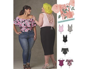 Sewing Pattern for Plus Size Knit Bodysuits by Ashley Nell Tipton, Simplicity Pattern 8344, Plus Size 18W to 34W, New Spring 2017 Line