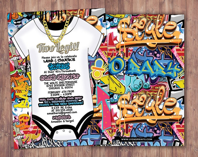 Fresh Prince, Baby Shower, Hip Hop, Swagger, 90s, backstage pass, push it shower, birthday invitation, Graffiti, Twins baby shower