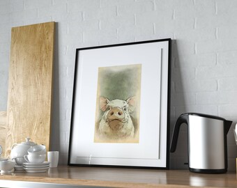 Pig Kitchen Decor, Farm Animal Wall Art, Rustic Nursery Ideas, Modern  Farmhouse,