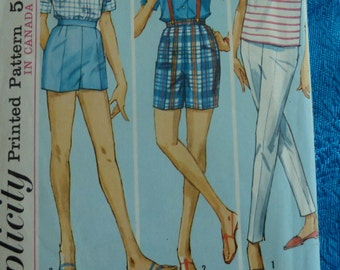 Vintage 1960s Simplicity sewing pattern 5281 pants and shorts