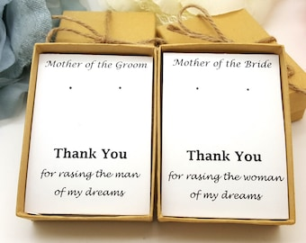 Mother of Groom Earings Gift, Mother of bride Earrings, Gift Box, Message Jewelry Gift Box