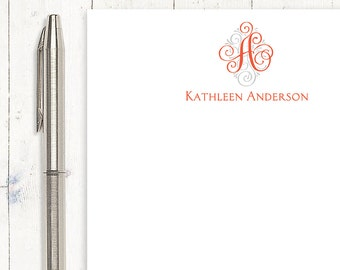 personalized notePAD - LOVELY SCROLL MONOGRAM - stationery - stationary - monogrammed notepad - choose color