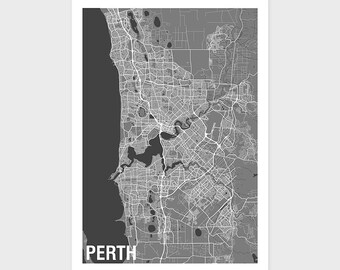 Perth Map Print Various Colours - Two-tone / Western Australia / City Print / Australian Maps / Giclee Print / Poster