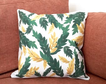 Leaves Design Cushion Cover, Illustrated Cushion Cover, Decorative Cushion Cover