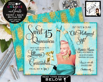 Turquoise and Gold Quinceanera invitation, mis quince birthday glitz & glam old hollywood style, Marilyn Monroe sweet 16. 7x5 Digital File