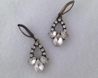 Rhinestone earrings, rhinestone drop earrings, rhinestone dangle earrings, special occasion earrings