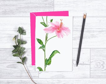 "Pink Hibiscus - Note Card - 4""x6"" - Individual Card - Greeting Card - Gifts For Her - Hibiscus Flower - Thinking of You - Just Because -Pink"