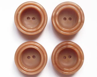 4 large round buttons vintage caramel acrylic 30 mm