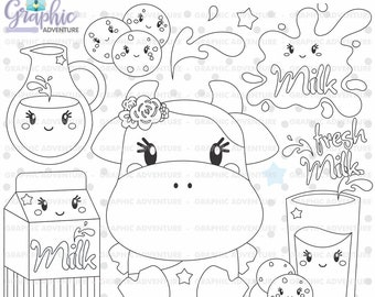 Milk Stamps, Cow Stamps, Breakfast Stamps, COMMERCIAL USE, Milk Coloring Page, Scrapbooking Stamps, Cow Coloring Page, Cookie Stamps, Cute