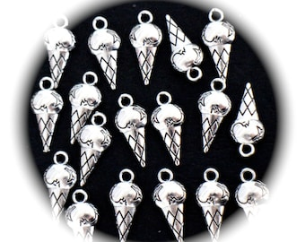 10 charms cones of ice cream cones 3D silver metal