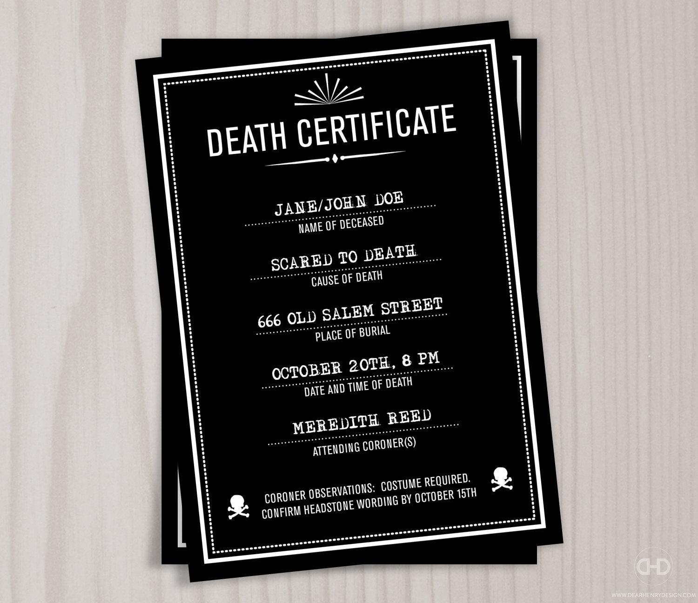 Creepy Death Certificate Halloween Invitation Personalized