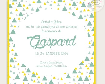 Customizable for boy, modern and vintage birth announcement