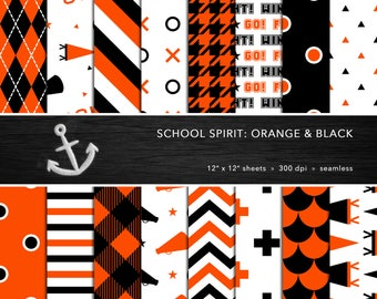 School Spirit Digital Paper Set -- Orange & Black, School Colors, Pep Rally, Homecoming, Scrapbook, Seamless -- Personal or Commercial Use