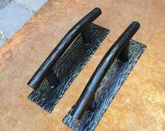 Hand Forged steel door handles, door pulls.